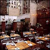 The garden at Grotto restaurant in New York.