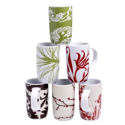 Shop-A-Matic -- Holiday Gift Guide -- Boho Holiday Mugs by Rosanna Inc. :  delphinium card and gift shop-a-matic fall 2008 white