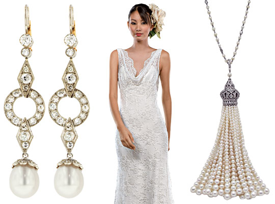 New york wedding guide bride jewelry to suit your neckline for Necklace for v neck wedding dress