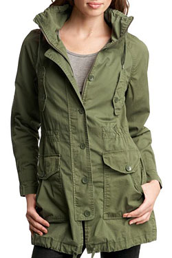 The green military anorak, made from.