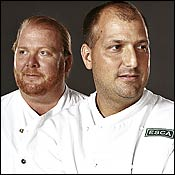 Mario Batali and Dave Pasternack of Bistro du Vent  in New York